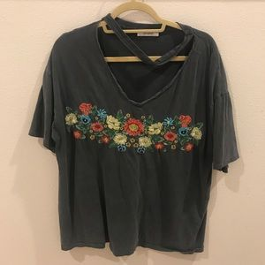 Embroidered ZARA floral tee